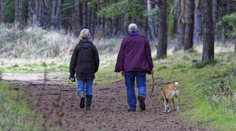 seniorzy na spacerze z psem
